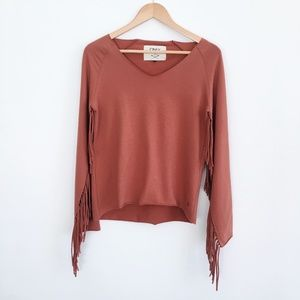 Only Long Sleeve top with Fringe Sleeve - size xs